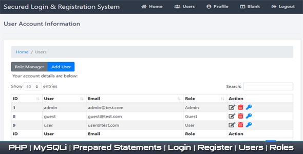 Secured Registration Login & User Management