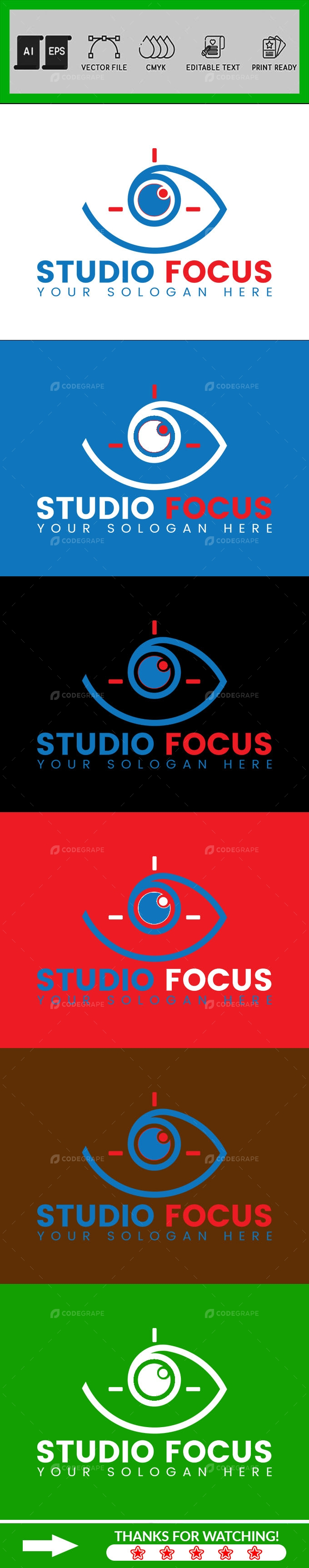 Studio Focus Camera Logo Design Template