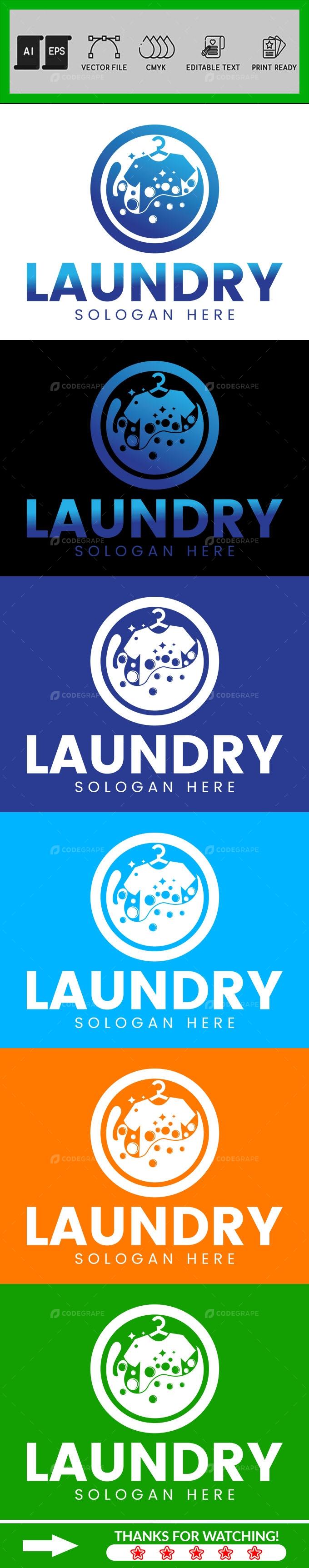 Laundry Logo Design Template