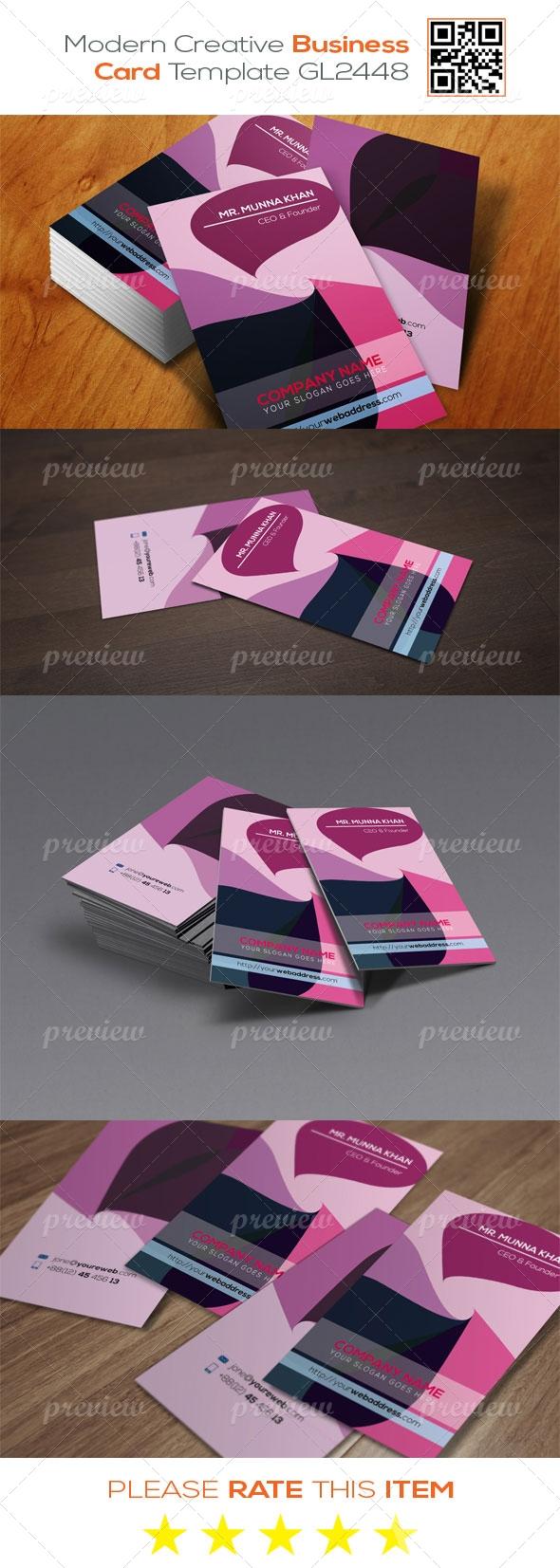 Modern Corporate Business Card Template GL2448