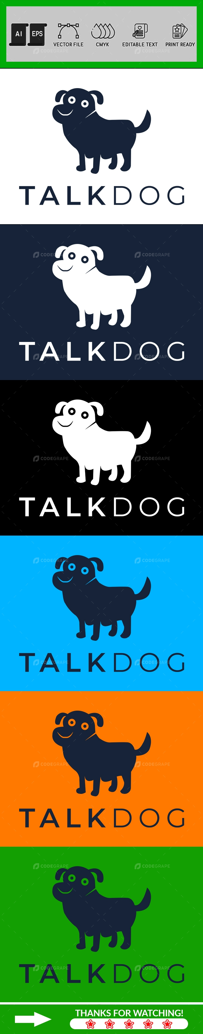 Minimalist Pet Dog Logo Design Template