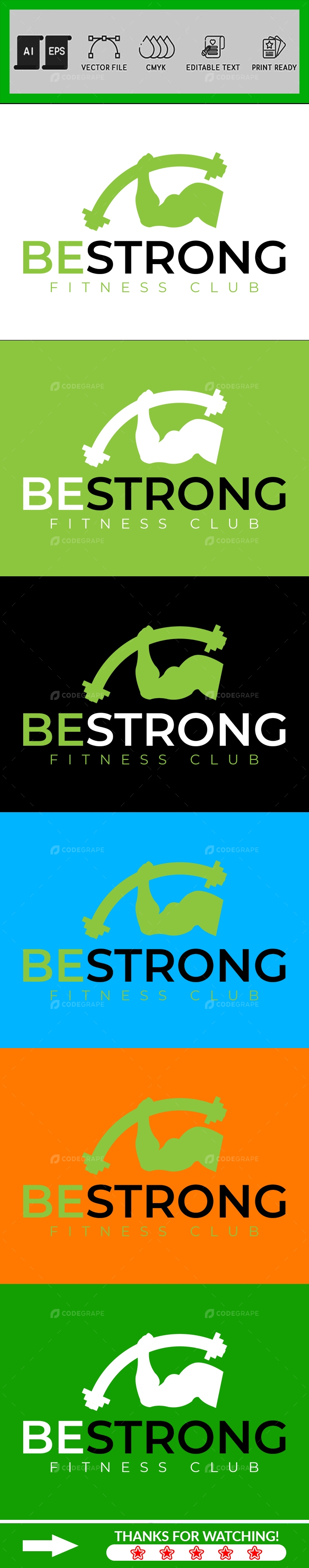 Minimalist Gym and Fitness Logo Design Template