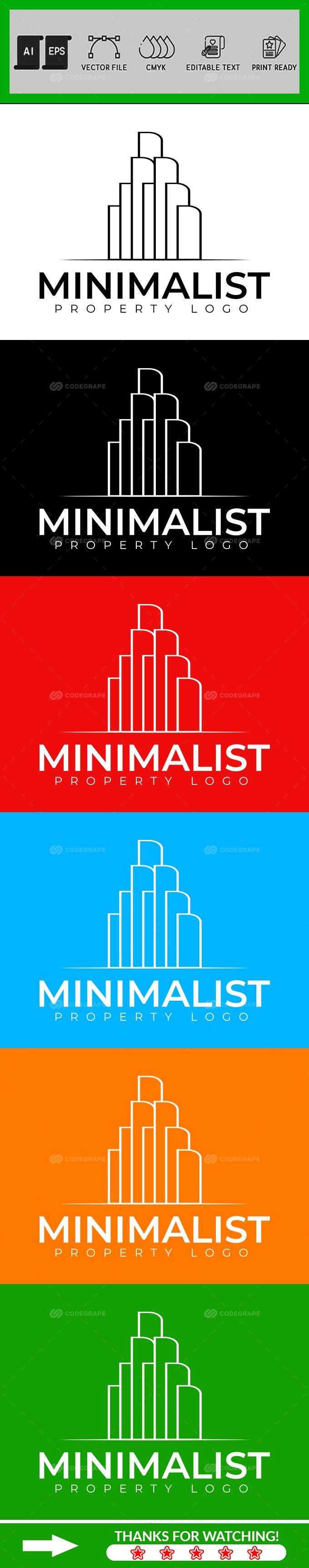 Minimalist Property Real Estate Logo Design Template