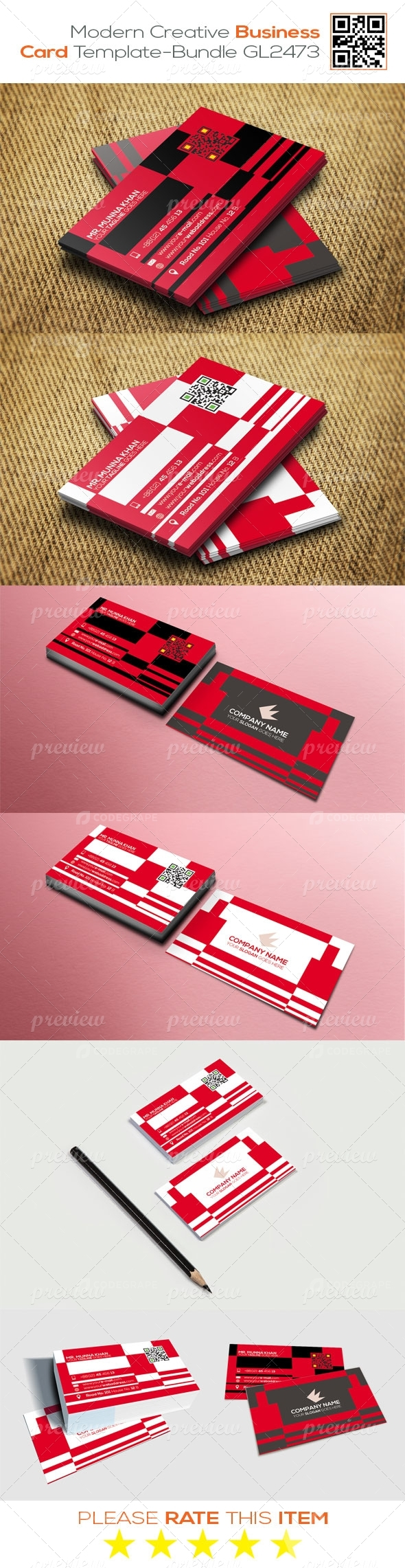Modern Creative Business Card Template - Bundle GL2473