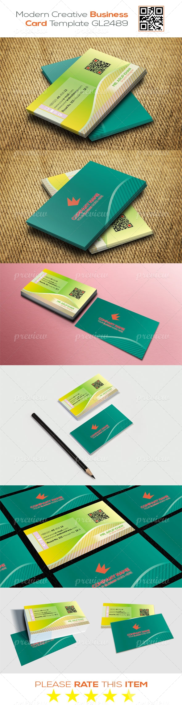 Modern Creative Business Card Template GL2489