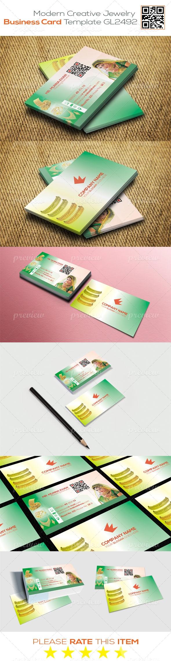 Modern Creative Jewelry  Business Card Template GL2492