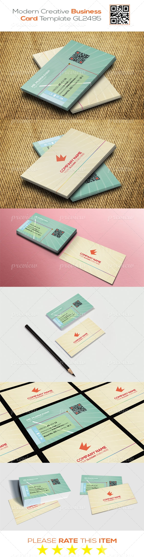 Modern Creative Business Card Template GL2495