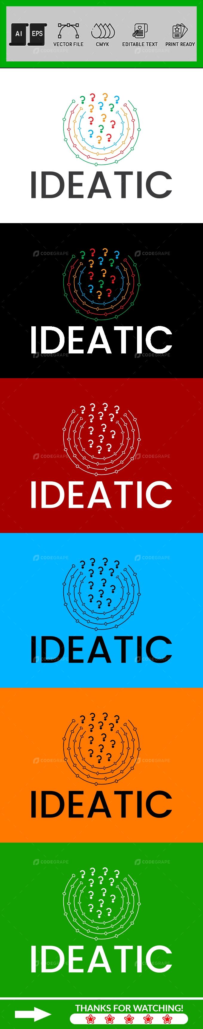 Bright Think Questions Creative Idea Logo Design Template