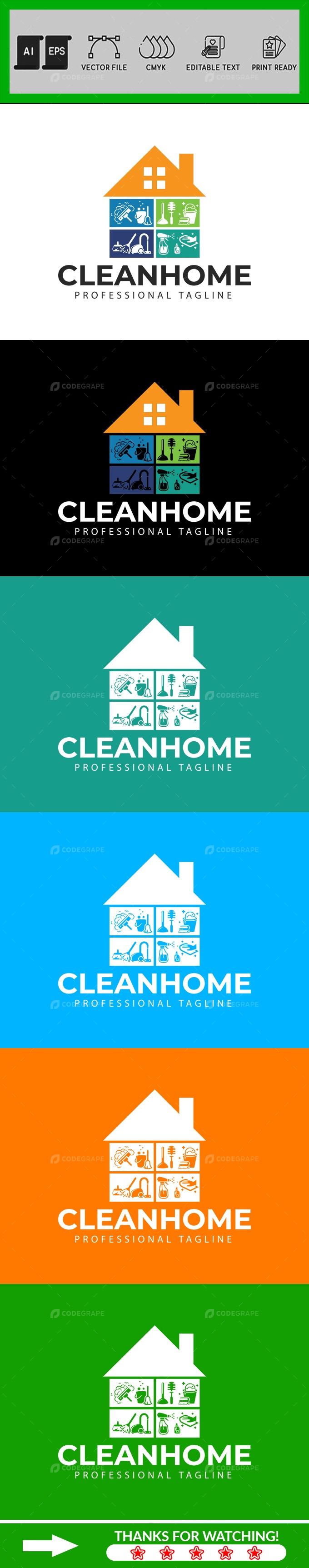 Clean Home Logo Design Template