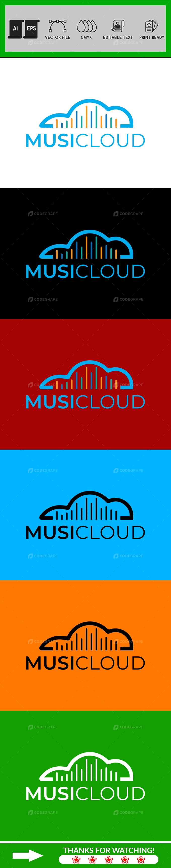 Colorful Sound Wave Music Cloud Logo Design Template