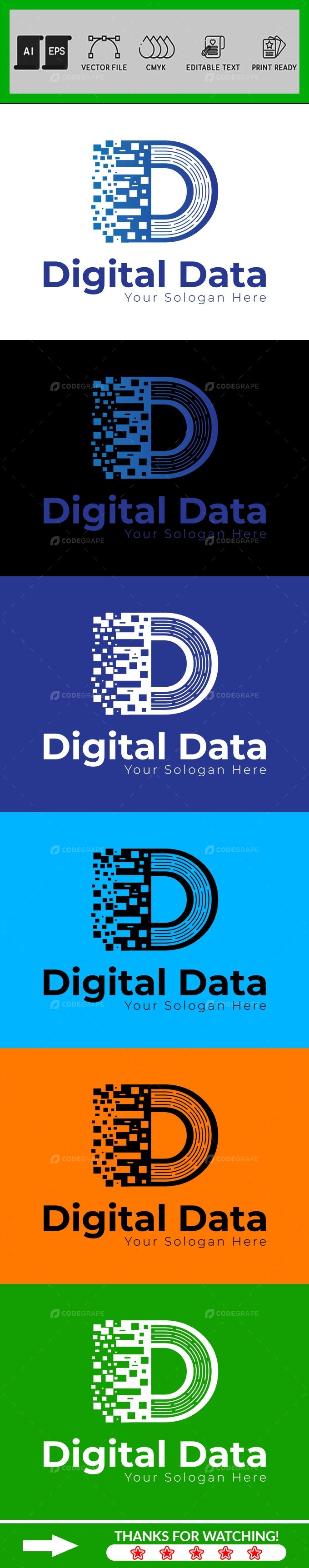 Digital Data Letter D Logo Design Template
