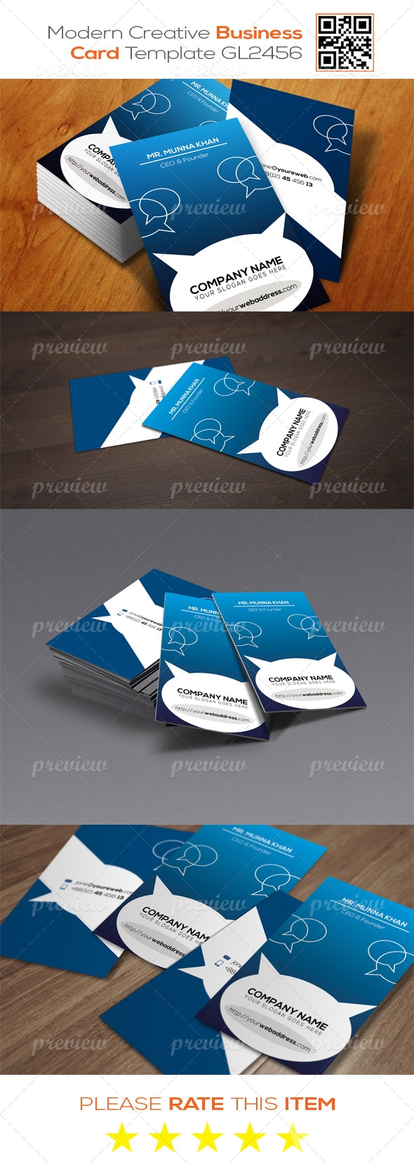 Modern  Creative Business Card Template GL2456