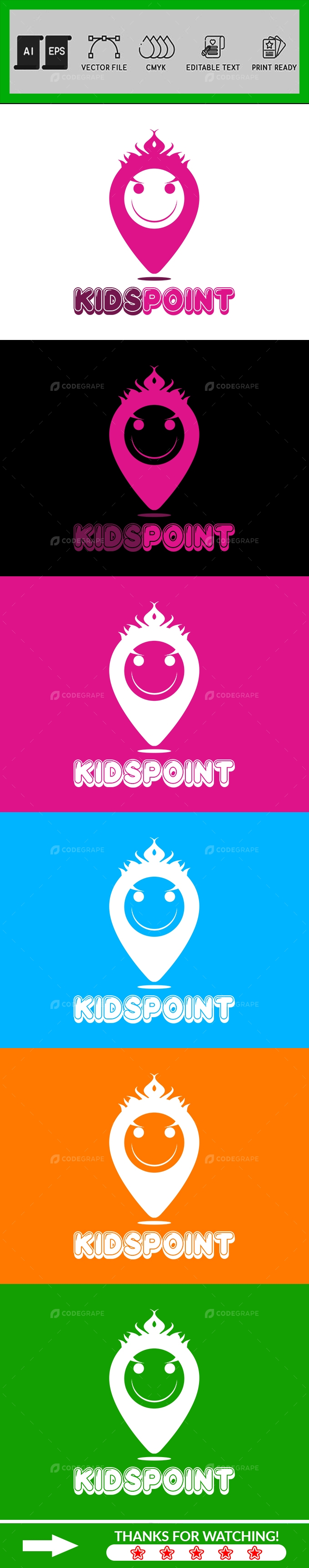 Kids Point Logo Design Template