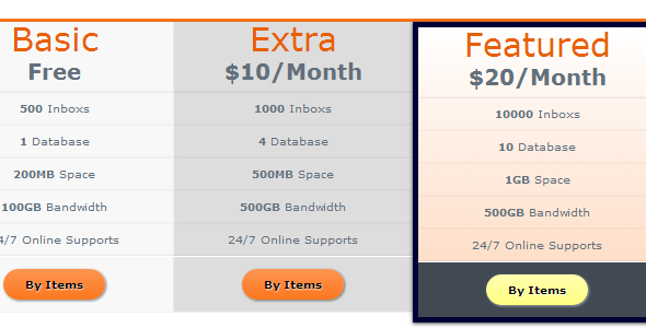 Orange Pricing Tables