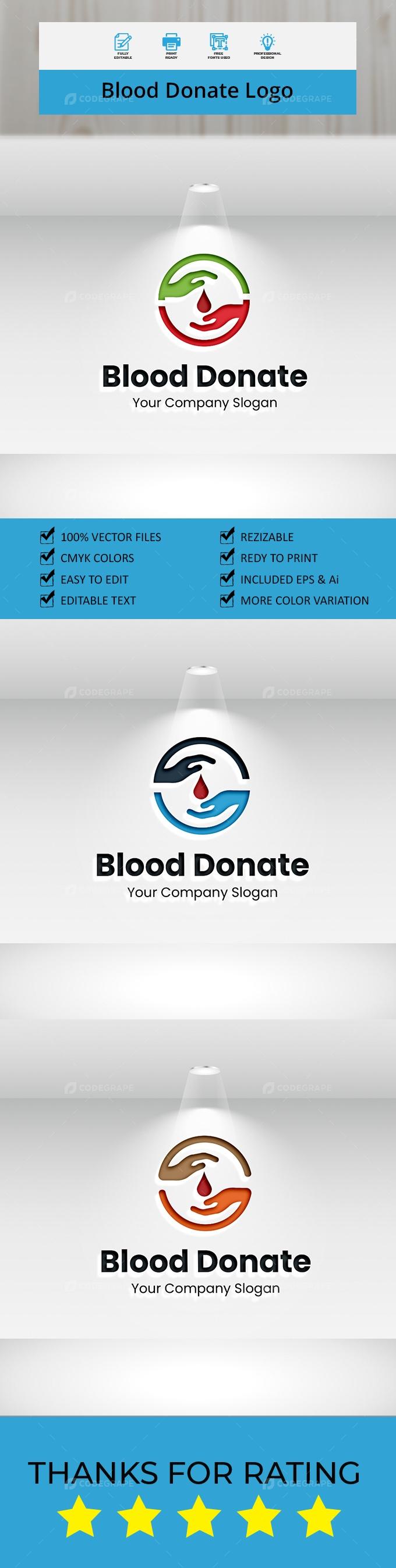 Blood Donate Logo template