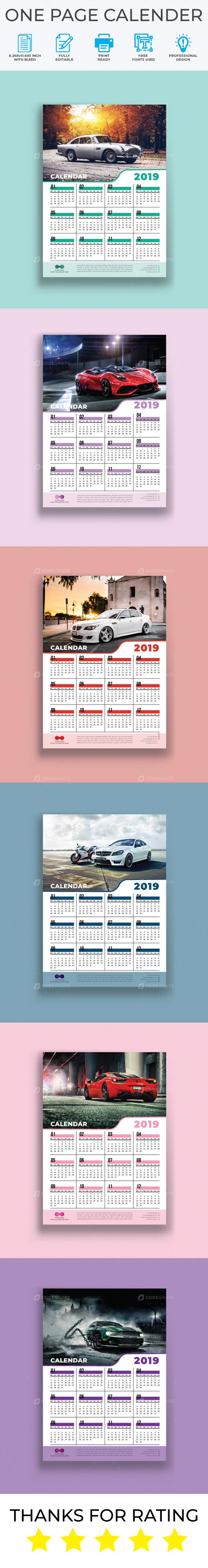 One Page Calendar Template