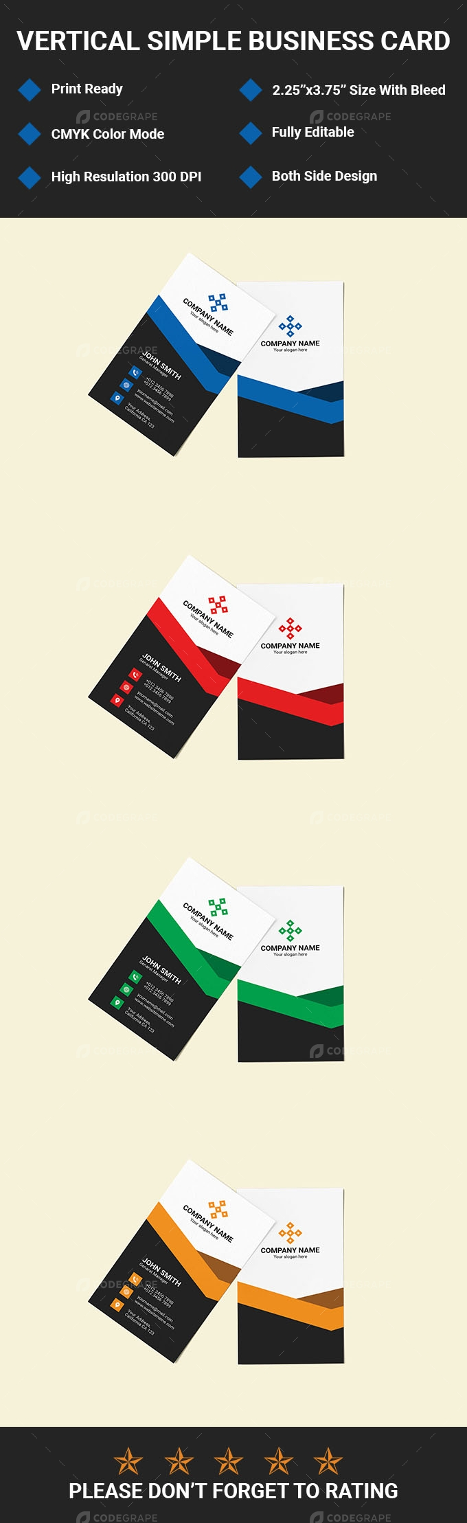 Vertical Simple Business Card
