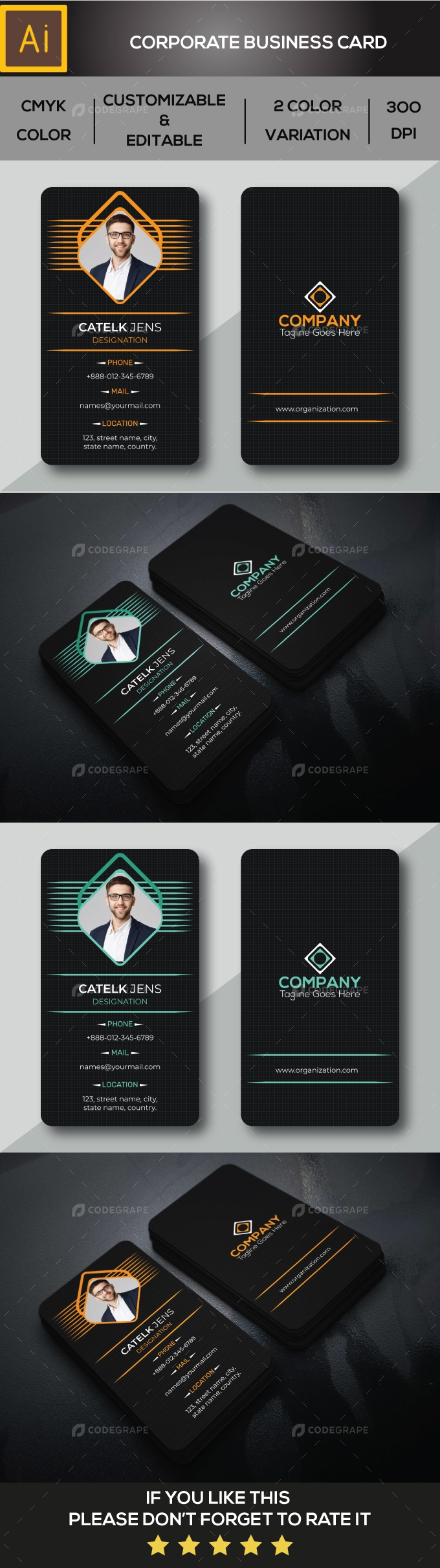 Corporate Business Card Vertical Template