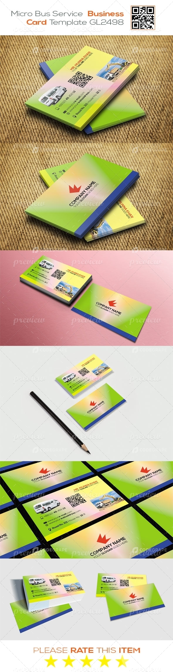 Micro Bus Service Business Card Template GL2498