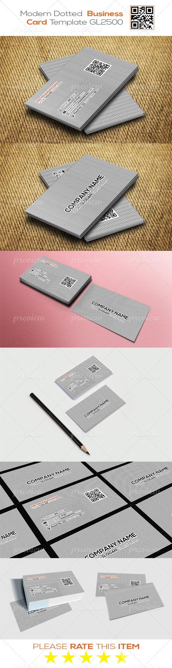 Modern Dotted Business Card Template GL2500
