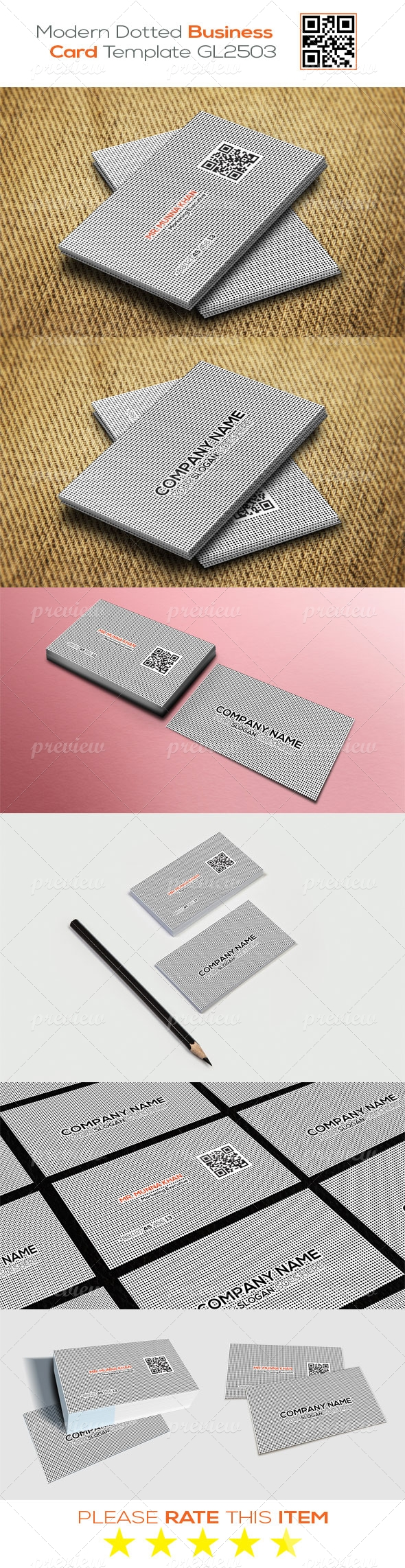 Modern Dotted Business Card Template GL2503