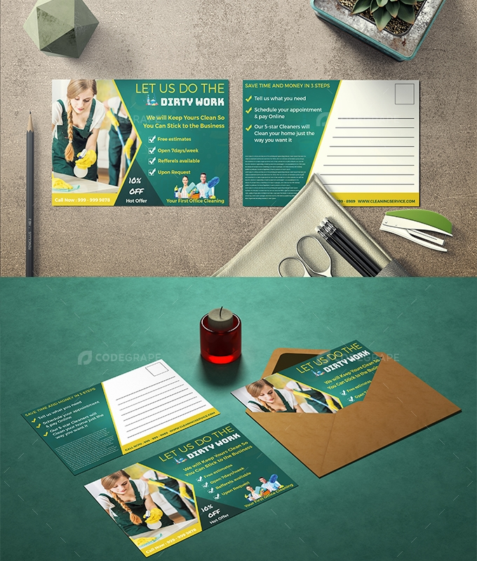 Cleaning Service Post Card Design