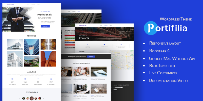 Portifilia - Business, Corporate and Portfolio WordPress Theme
