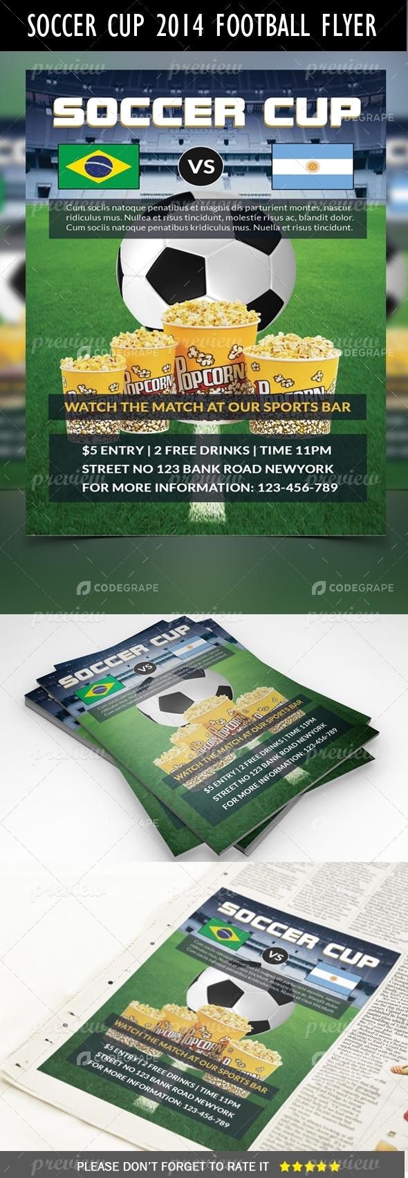Soccer Cup 2014 Football Flyer