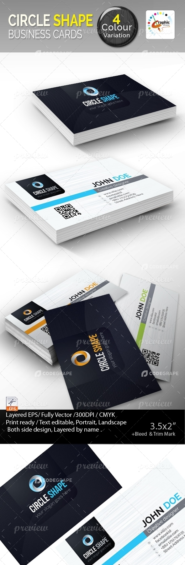 Circle Shape Business Cards