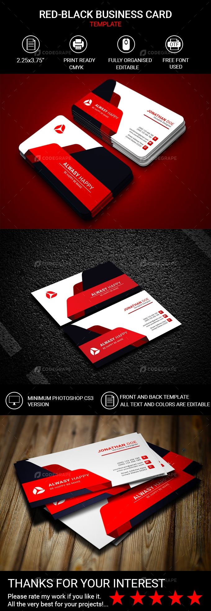 Red-Black Business Card