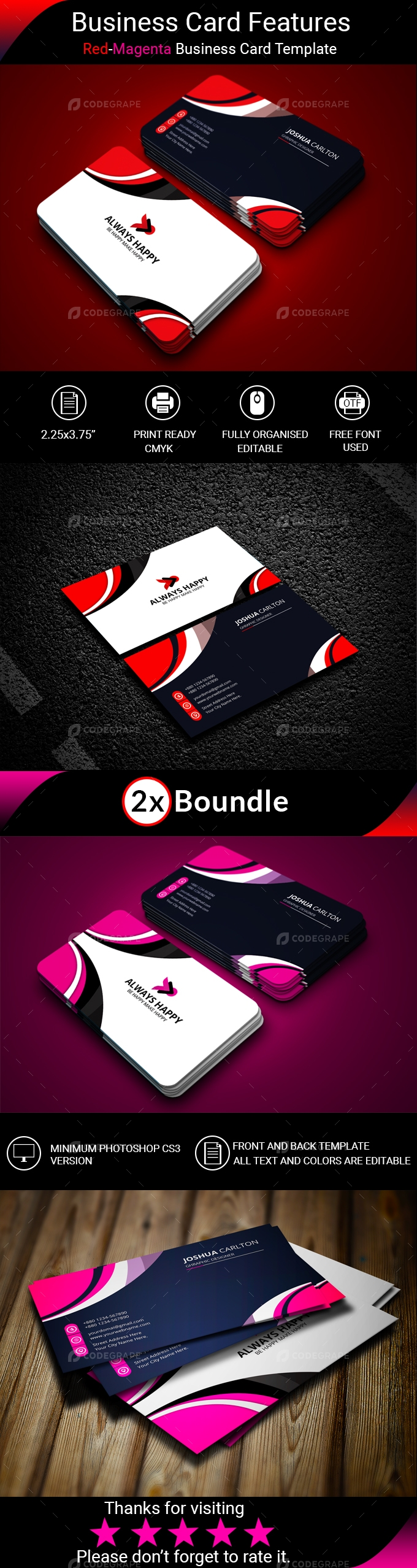 Red-Magenta Business Card
