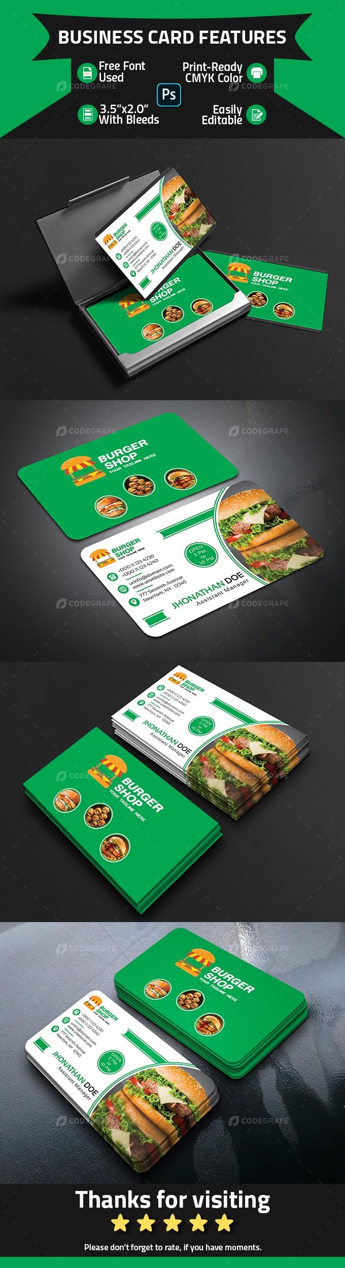Burger Shop Business Card