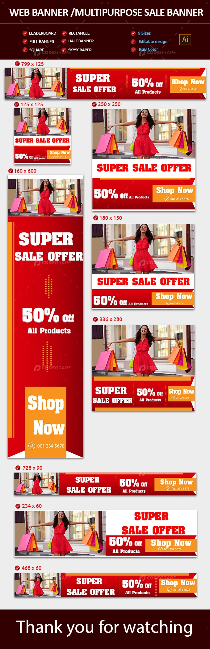 Web Banner-Multipurpose Sale Banners set
