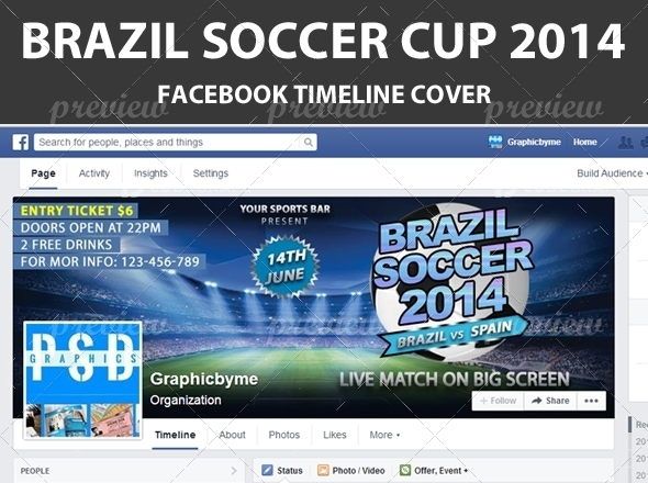 Soccer Cup 2014 Facebook Timeline Cover