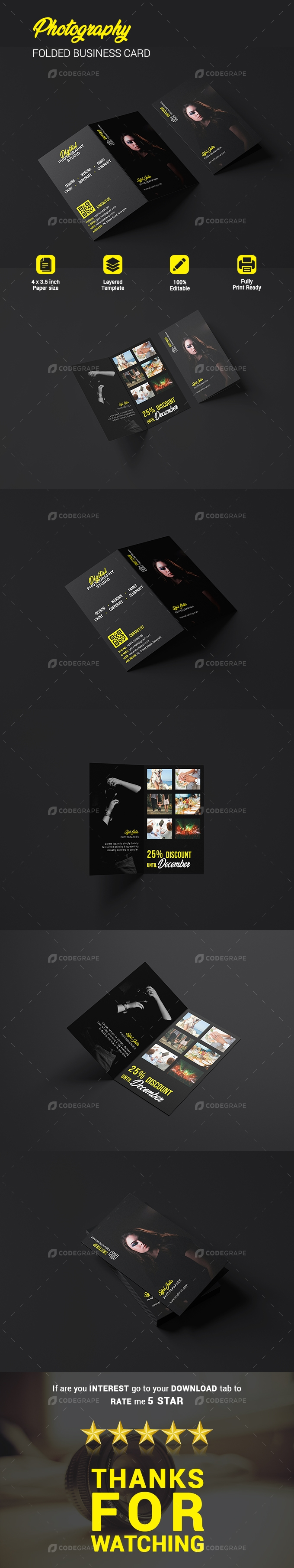 Photography Folded Business Card