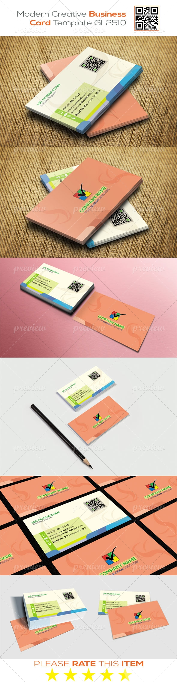 Modern Creative Business Card Template GL2510