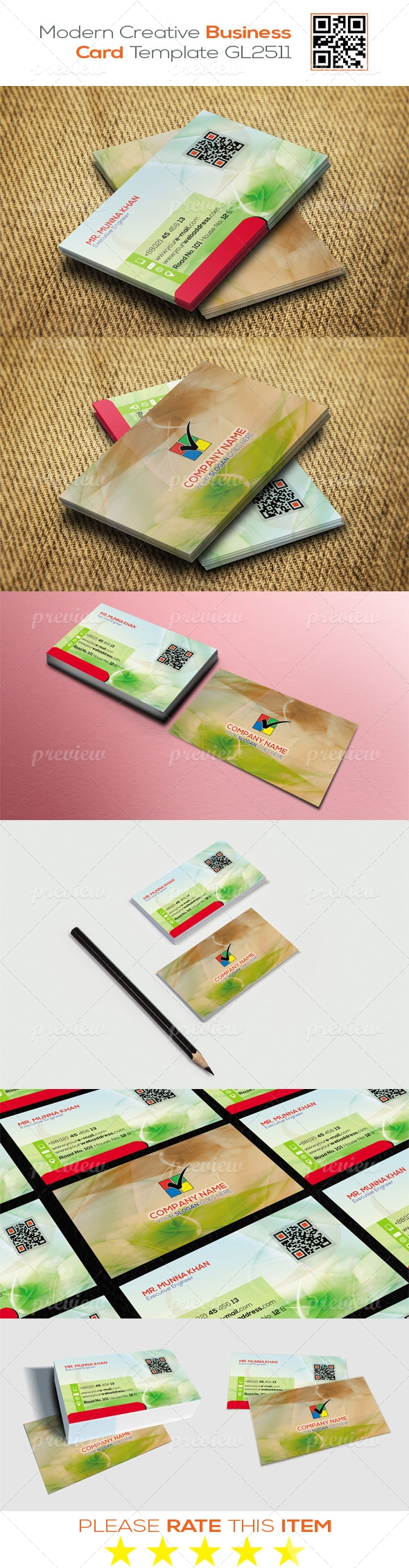 Modern Creative Business Card Template GL2511
