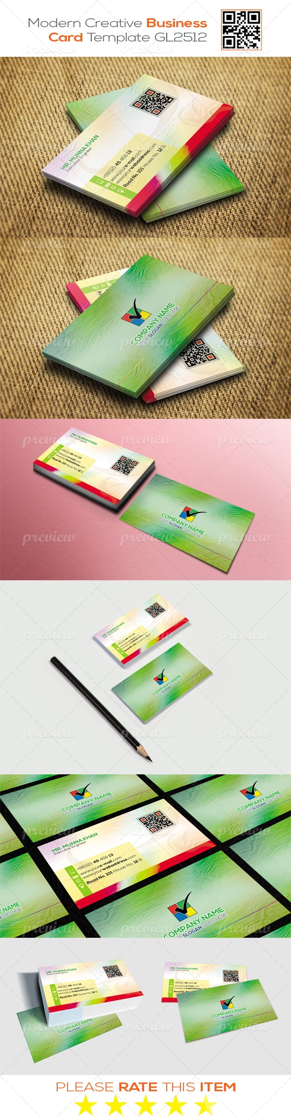 Modern Creative Business Card Template GL2512