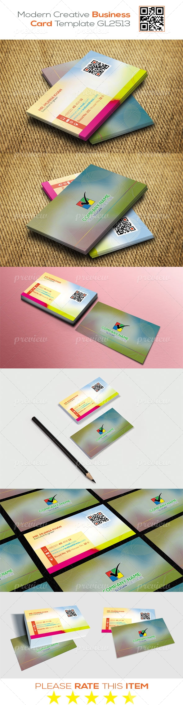 Modern Creative Business Card Template GL2513