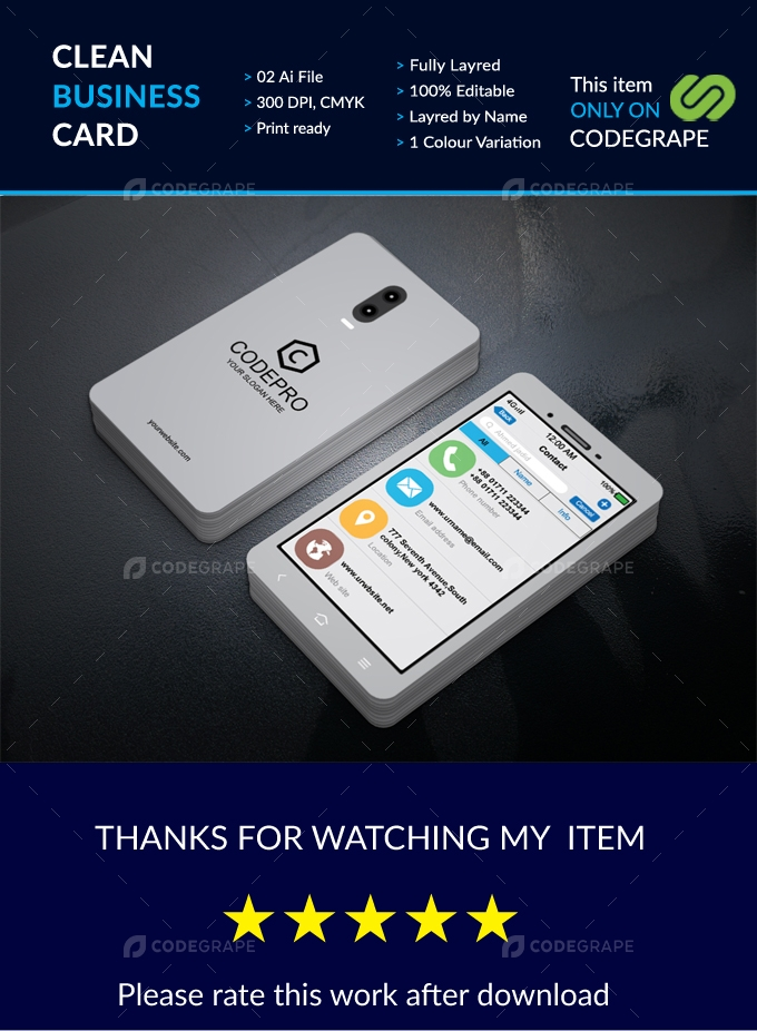Mobile Business card White version
