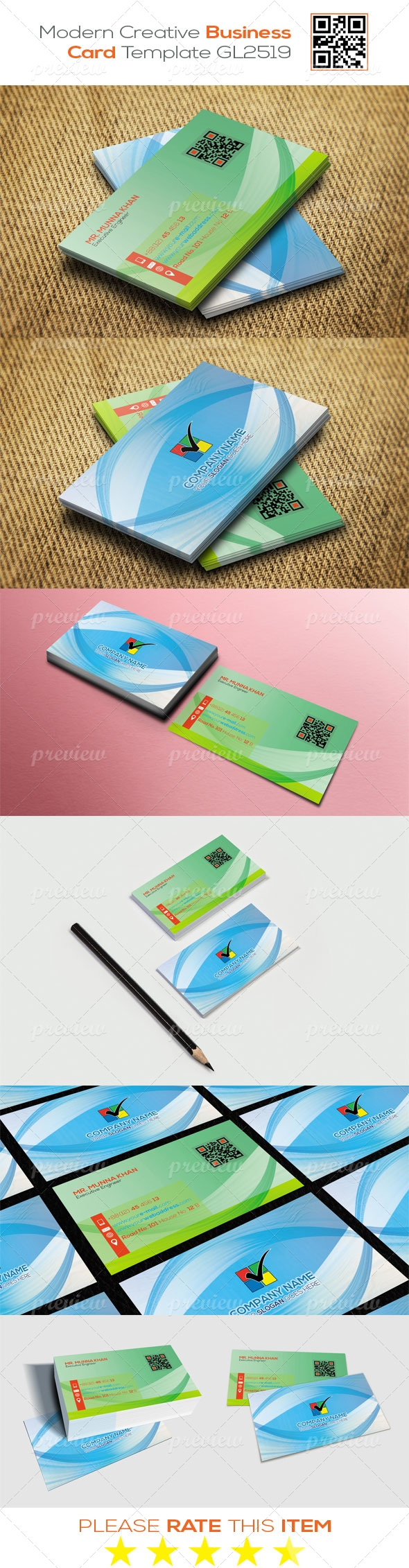 Modern Creative Business Card Template GL2519