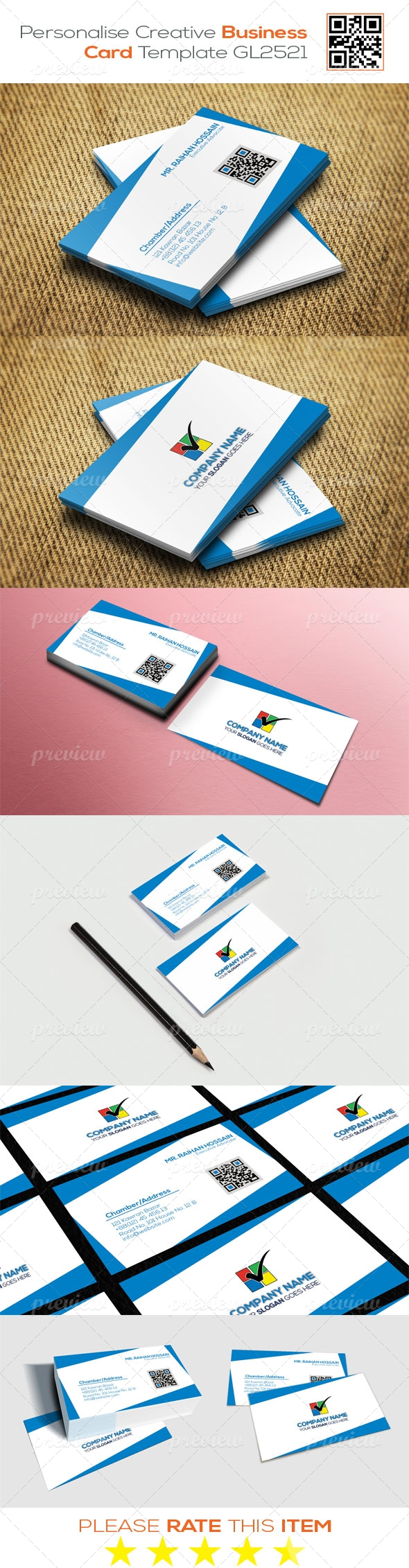 Personalize Creative Business Card Template GL2521