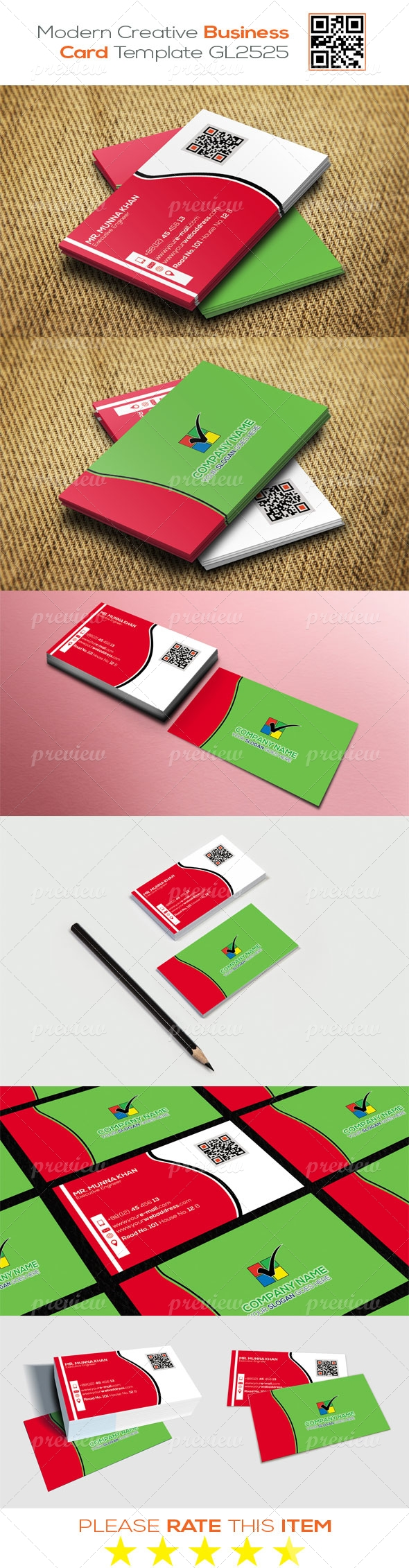 Modern Creative Business Card Template GL2525