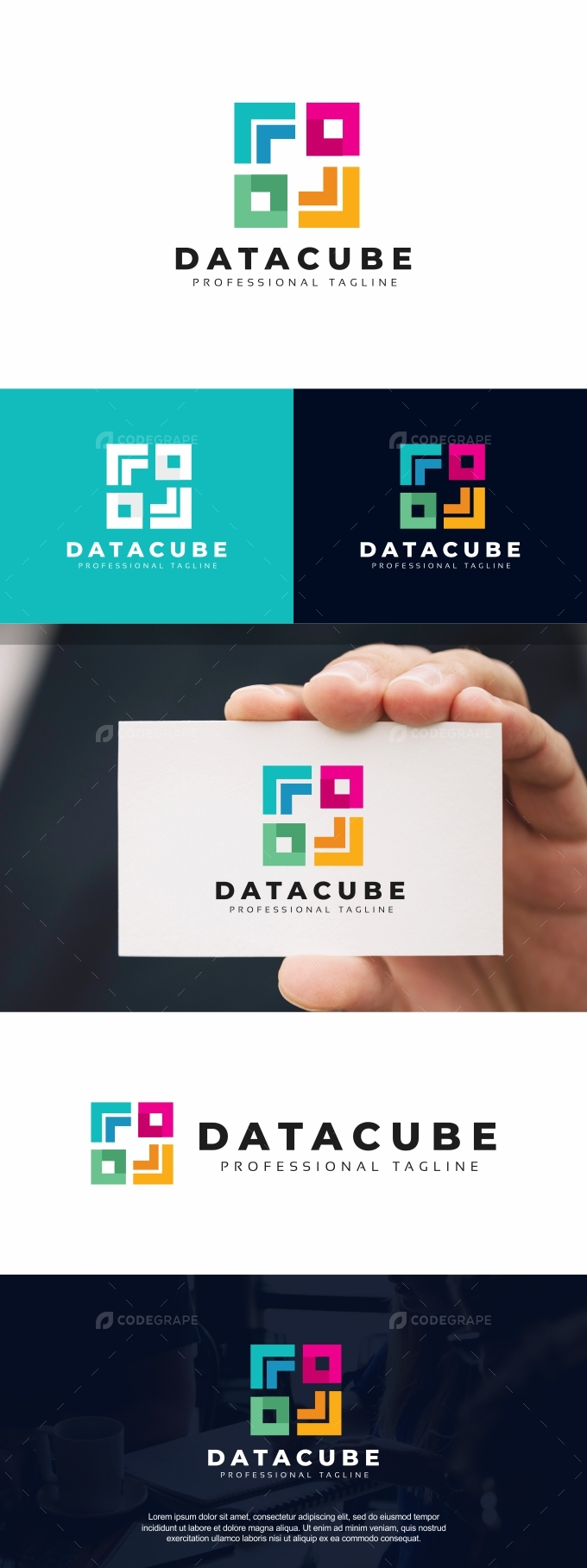 Data Cube Colorful Logo