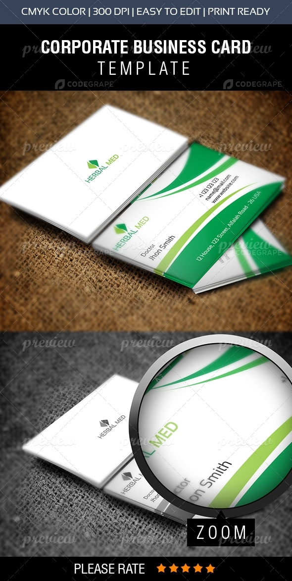 HERBAL MED Business Card - Print   CodeGrape