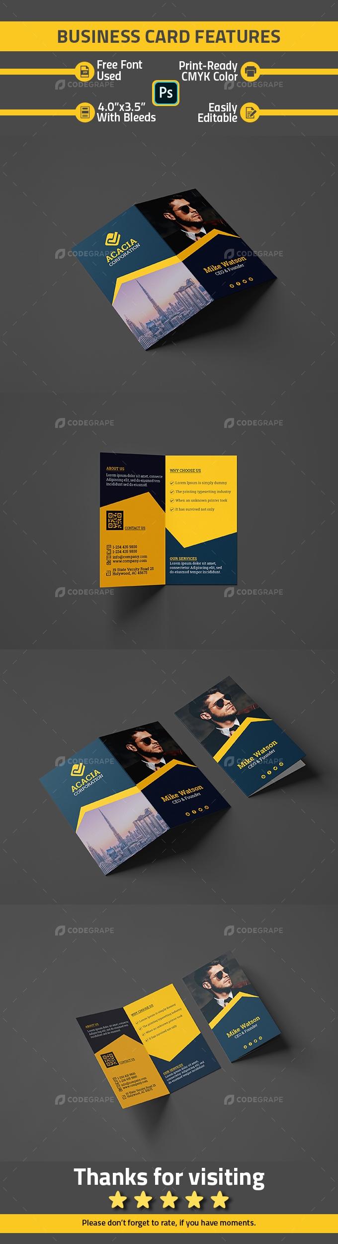Stylish Professional Folded Business Card