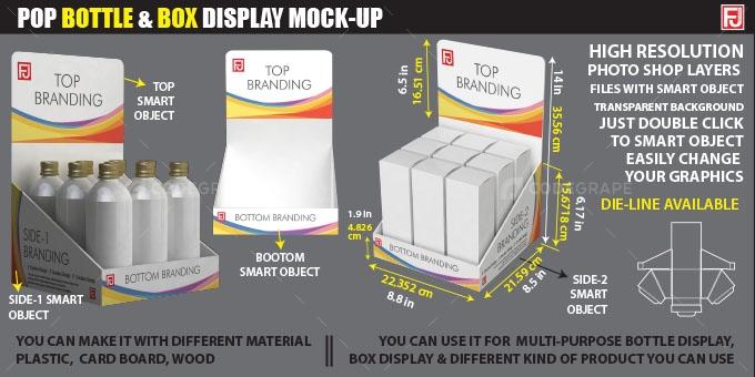 Pop Bottle & Box Display Mock-up