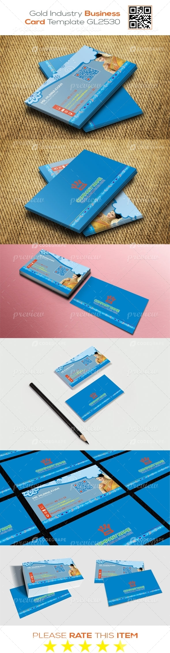 Gold Industry Business Card Template GL2530
