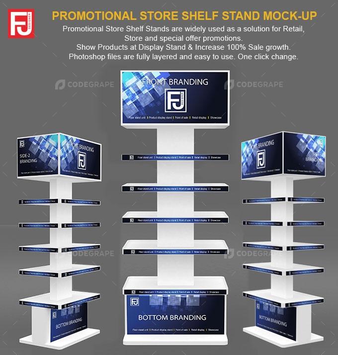 Promotion store shelf stand Mock-up