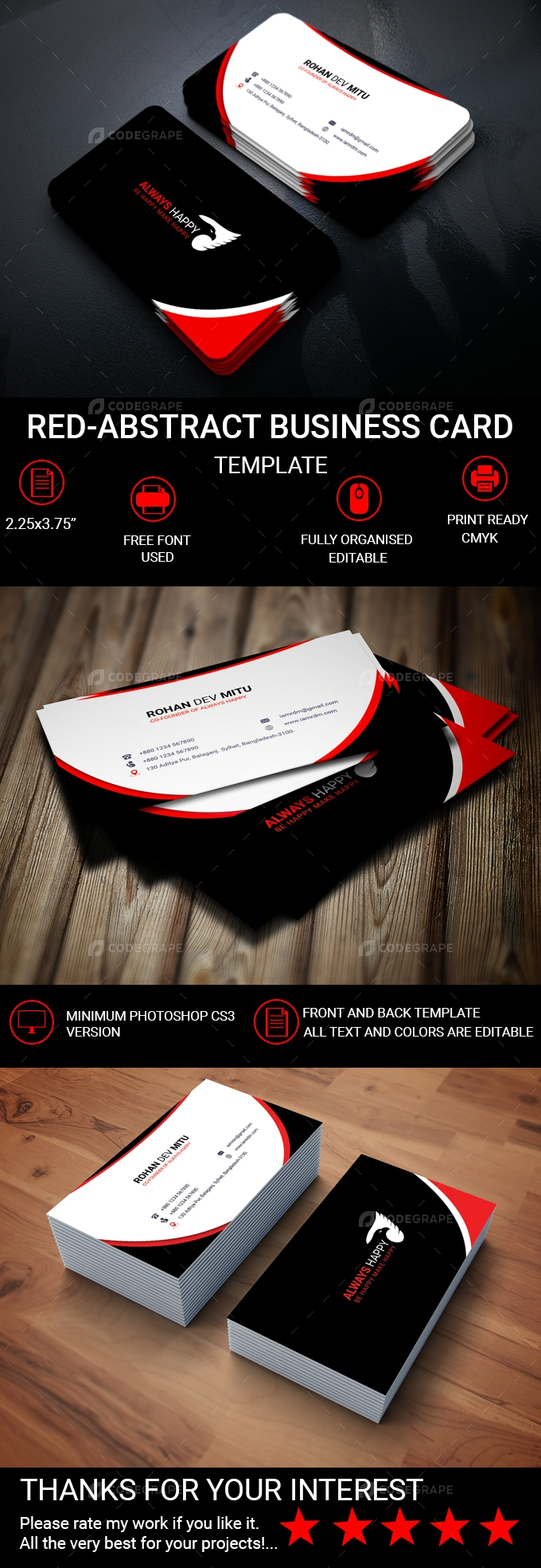 Red-Abstract Business Card